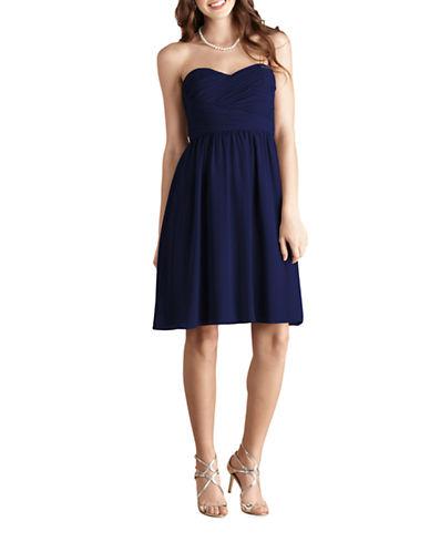 Donna Morgan Sarah Short Strapless Sweetheart Chiffon Dress-MIDNIGHT-4