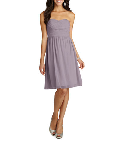 Donna Morgan Sarah Short Strapless Sweetheart Chiffon Dress-GREY RIDGE-4