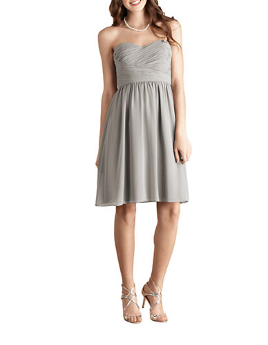 Donna Morgan Sarah Short Strapless Sweetheart Chiffon Dress-STERLING-16
