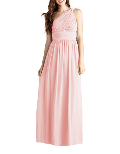 Donna Morgan Rachel One Shoulder Chiffon Dress-BLUSH-4