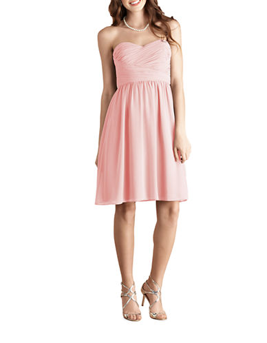 Donna Morgan Sarah Short Strapless Sweetheart Chiffon Dress-BLUSH-10