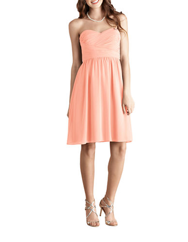 Donna Morgan Sarah Short Strapless Sweetheart Chiffon Dress-PEACH FUZZ-4