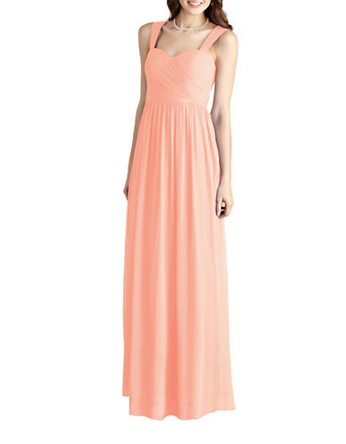 Donna Morgan Bailey Side Draped Strapped Chiffon Dress-PEACH FUZZ-14