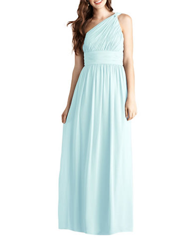 Donna Morgan Rachel One Shoulder Chiffon Dress-BEACHGLASS-14