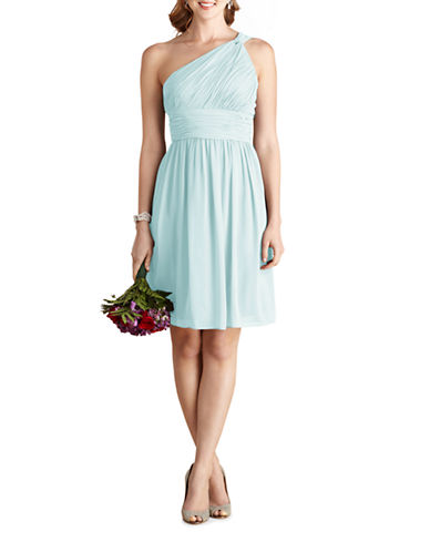 Donna Morgan Rhea One Shoulder Chiffon Dress-BEACHGLASS-8