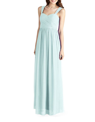 Donna Morgan Bailey Side Draped Strapped Chiffon Dress-BEACHGLASS-10