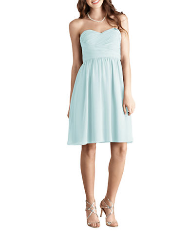 Donna Morgan Sarah Short Strapless Sweetheart Chiffon Dress-BEACHGLASS-8