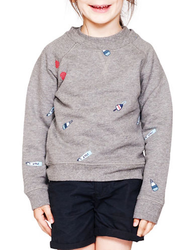 Drake General Store Embroidered Buoy Sweatshirt-GREY MULTI-18-24 Months