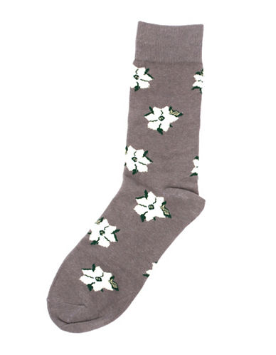 Drake General Store Mens Ontario Trillium Provincial Flower Socks-BROWN-One Size