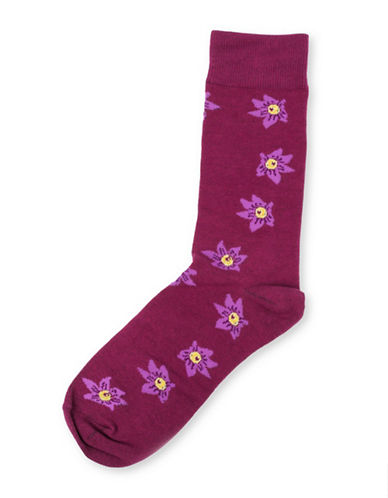 Drake General Store Mens Ontario Trillium Provincial Flower Socks-RED-One Size