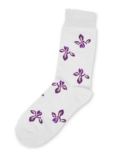 Drake General Store Ontario Trillium Provincial Flower Socks-BLUE-One Size