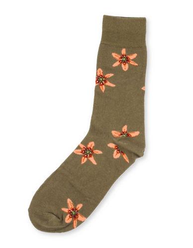 Drake General Store Mens Ontario Trillium Provincial Flower Socks-GREEN MULTI-One Size