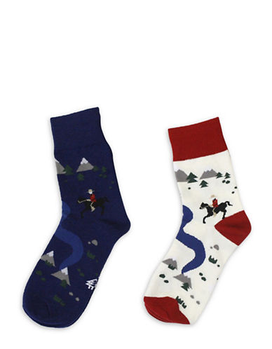 Drake General Store Two-Pack Mountie Socks-NAVY-Large