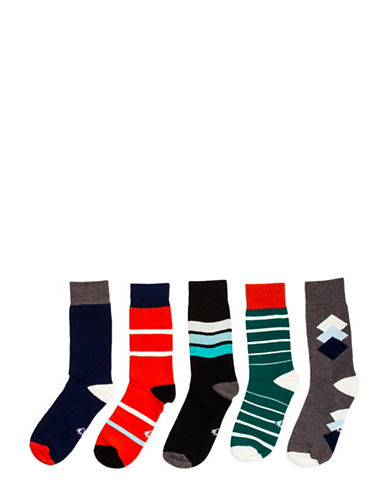 Drake General Store Arborist Five-Pair Work Week Socks-ASSORTED-Medium