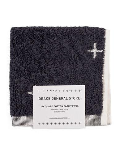 Drake General Store Jacquard Cross Face Towel-GREY/WHITE-Washcloth