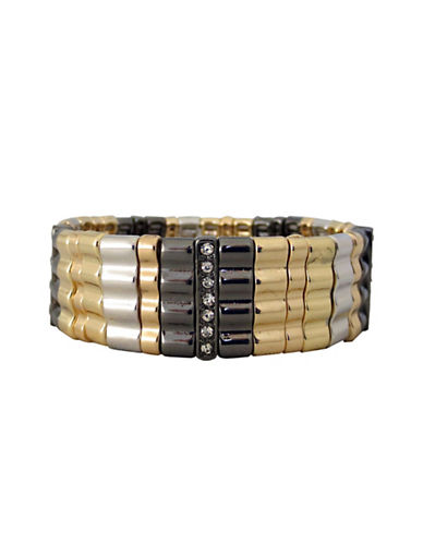 Nine West Nine West Tri Tone Wide Stretch Bracelet-TRI COLOUR-One Size