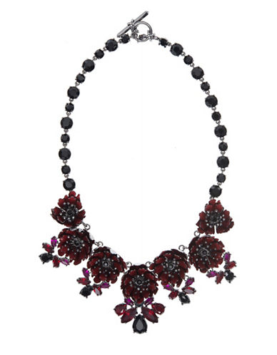 Marchesa Floral Statement Necklace-RED-One Size