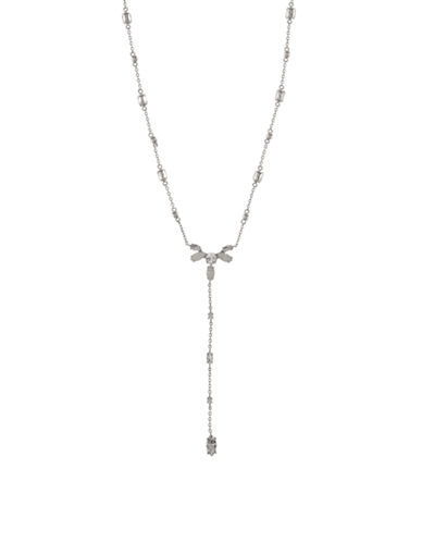 Marchesa Rhinestone Y Necklace-WHITE-One Size