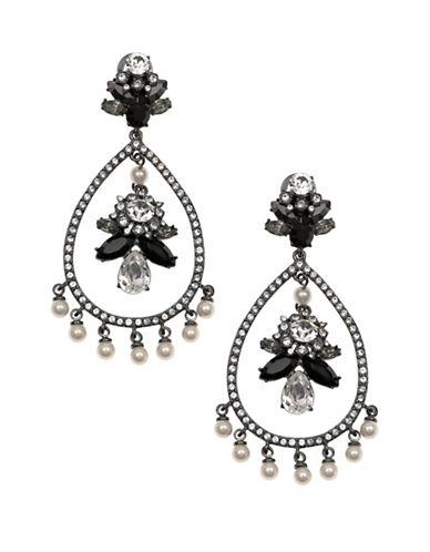 Marchesa Pave Teardrop Dangling Earrings-BLACK-One Size 88060115_BLACK_One Size