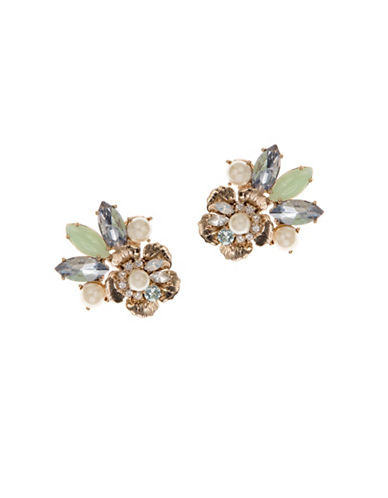 Marchesa Faux Pearl Flower Button Earrings-GOLD-One Size