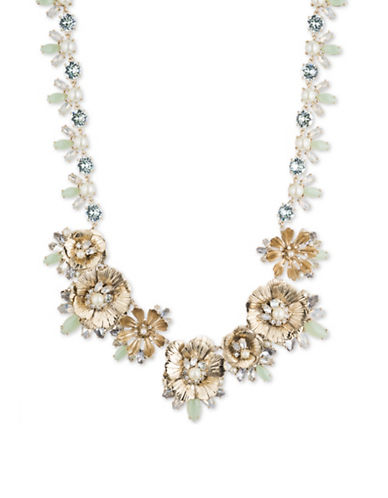 Marchesa Faux Pearl Flower Collar Bib Necklace-GOLD-One Size