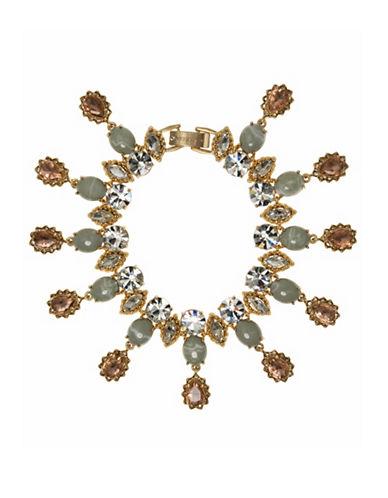 Marchesa Multi Glass Crystal Flex Bracelet-GOLD-One Size