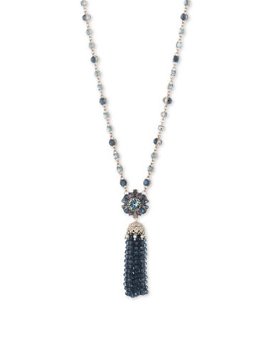 Marchesa Goldtone White Metal Tassel Pendant Necklace-BLUE-One Size