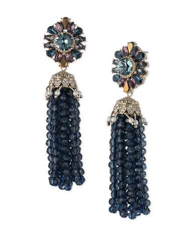 Marchesa Goldtone White Metal Tassel Drop Earrings-BLUE-One Size