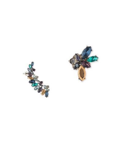 Marchesa Goldtone White Metal Mismatch Earrings-BLUE-One Size