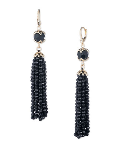Ivanka Trump Beaded Tassel Goldplated Earrings-BLACK-One Size