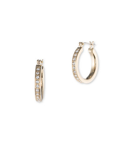 Ivanka Trump Crystal and Goldplated Pave Hoop Earrings-GOLD-One Size