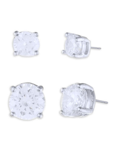 Ivanka Trump Faceted Crystal Studs-SILVER-One Size