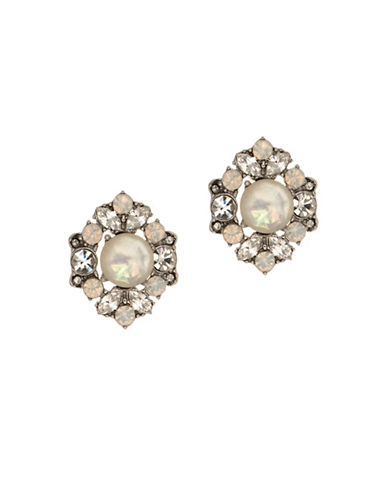Marchesa Stone and Faux Pearl Cluster utton Earrings-SILVER-One Size