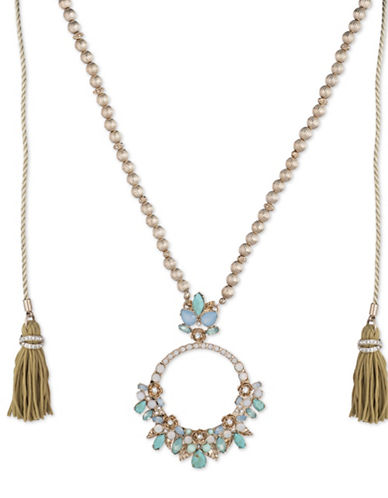 Marchesa Embellished Circle Pendant Necklace-BLUE-One Size
