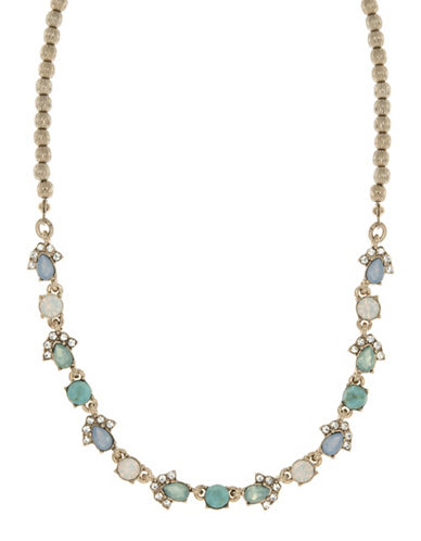 Marchesa Stone Studded Choker Necklace-BLUE-One Size