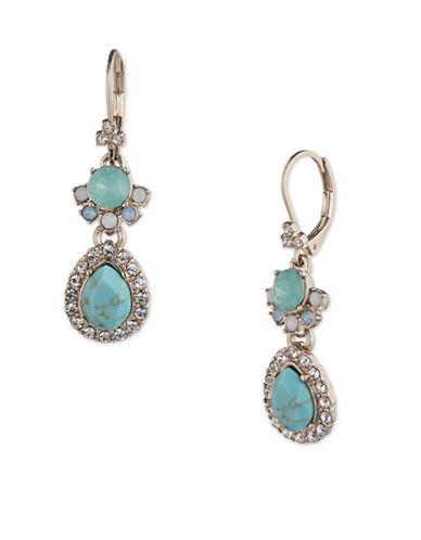 Marchesa Embellished Double Drop Earrings-BLUE-One Size