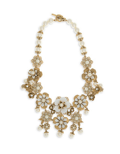 Marchesa Faux Pearl Goldtone Drama Collar Necklace-GOLD-One Size