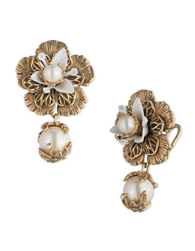 Marchesa Floral Faux Pearl Goldtone Drop Earrings-GOLD-One Size