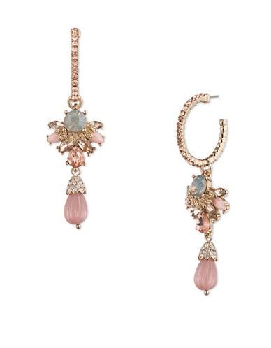 Marchesa Goldplated Hoop Drop Earrings-PINK-One Size