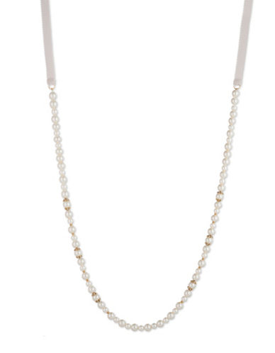 Marchesa Faux Pearl Goldtone Strandage Necklace-WHITE-One Size