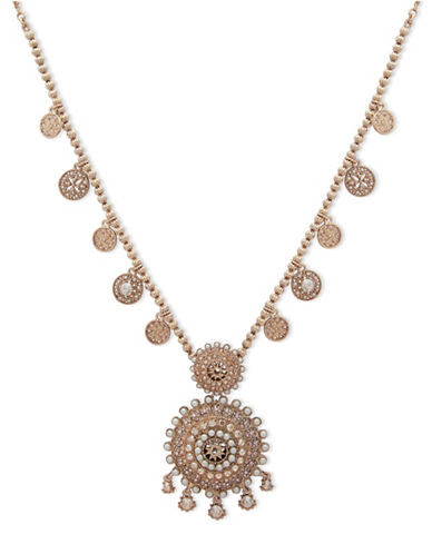 Marchesa Faux Pearl Medallion Pendant Necklace-GOLD-One Size