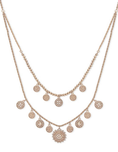 Marchesa Faux Pearl Two-Row Pendant Necklace-GOLD-One Size