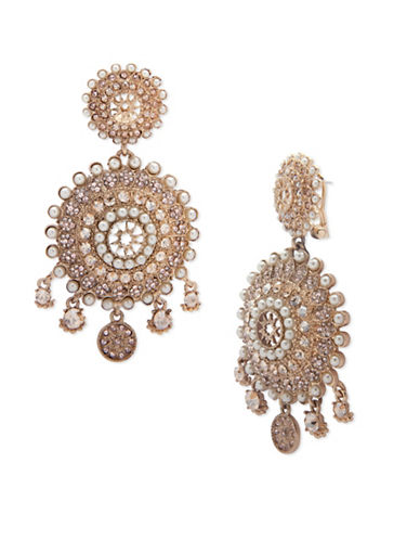 Marchesa Faux Pearl Drama Drop Earrings-GOLD-One Size