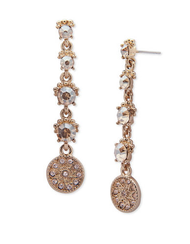 Marchesa Goldtone Linear Drop Earrings-GOLD-One Size