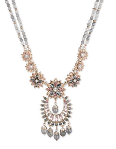 Marchesa Floral Drama Pendant Necklace-GREY-One Size