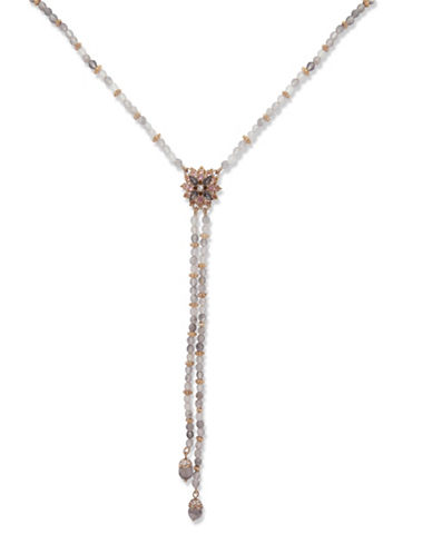 Marchesa Floral Lariat Necklace-GREY-One Size