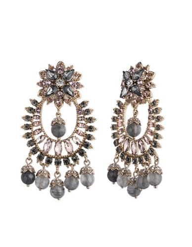Marchesa Multi-Stone Chandelier Earrings-GREY-One Size