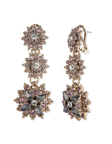 Marchesa Floral Double Drop Earrings-GREY-One Size