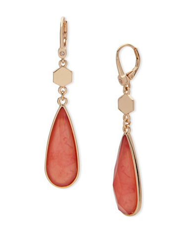 Ivanka Trump Faceted Teardrop Earrings-RED-One Size