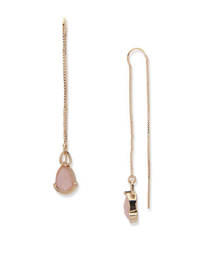Ivanka Trump Pull-Through Drop Earrings-PINK-One Size